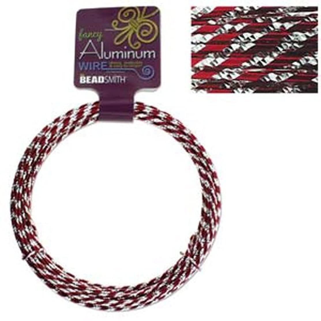 Fancy Aluminum Craft Wire 12 Gauge 39 Feet Diamond Cut Red & Silver