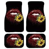 Coloranimal Juego completo de alfombras de piso de coche para mujer con respaldo de goma antideslizante girasol, 4 piezas