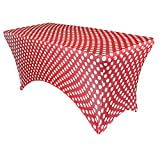 Your Chair Covers - 4 ft Rectangular Fitted Spandex Tablecloths Patio Table Cover Stretchable Tablecloth - Red Polka Dot