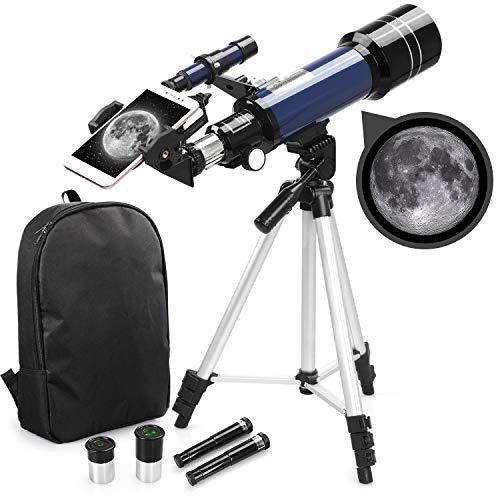 Telescopio Refractor astronómico para niños Principiantes: telescopio Refractor de 70 mm con Mochila, Adaptador para Smartphone y trípode Ajustable para Ver la Luna