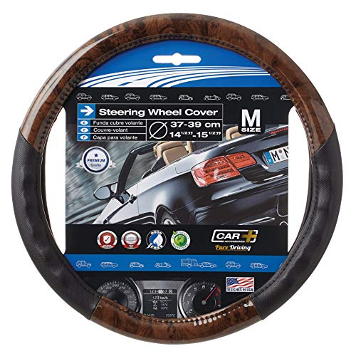 Wood Grain Steering Wheel Cover Black fits All 14.5' to 15.5'...
