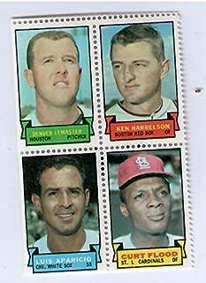 1969 Topps Baseball Stamps Denver Lemaster-Ken Harrelson-Luis Aparicio-Curt Flood 4 Stamp Panel