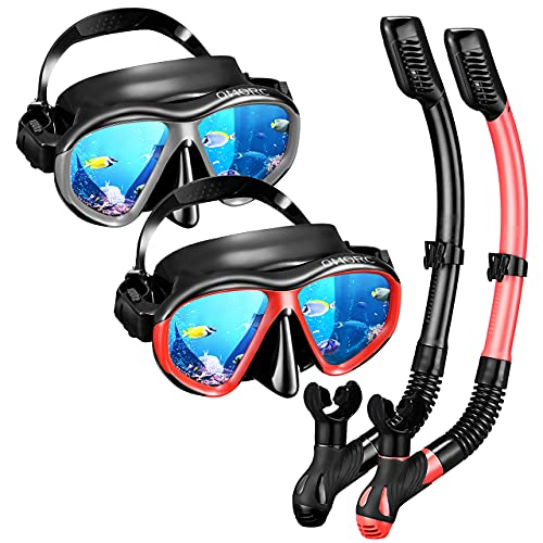 OMORC Adult Snorkel Set, Anti Leak Mask and Snorkel Sets for Adult, Fog-Resistant Panoramic Tempered Glass Diving Mask, Free Breathing Scuba Mask and Snorkel Gear with Carrying Bag for Scuba Diving