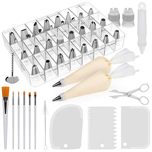 Kootek 47 Pcs Cake Decorating Tips Supplies Tools with Numbered Icing Tips, Cake Paint Brushes, Silicone Pastry Bags, Couplers, Icing Smoother, Decoration Pen White Baking Supply Fondant Sets