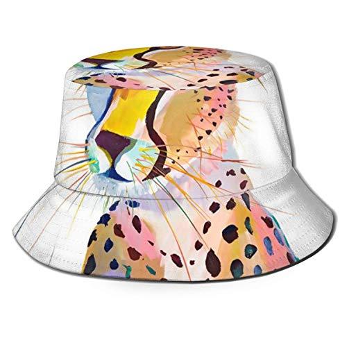 Lawenp Sombrero de Cubo Plegable para Mujer, Guepardo de Verano, Gorro de Pescador Transpirable para el Sol, Sombrero de Caza para Mujeres y Hombres
