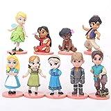 9 unids / Set Juguetes de Princesa Blancanieves Cenicienta Belle Tinker Bell Figura de acción Juguete Regalos de cumpleaños 5-8cm