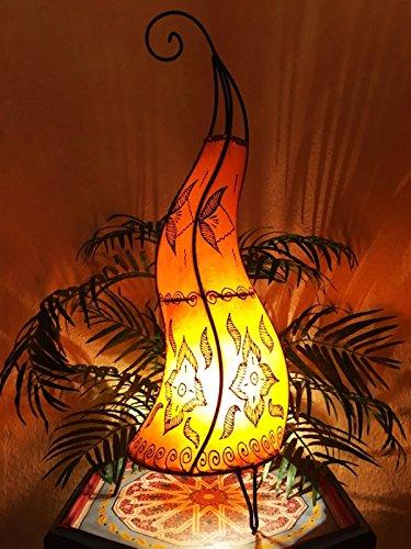 Oosterse vloerlamp Almina oranje 71cm lederen lamp hennalampe lamp | Marokkaanse grote vloerlampen van metaal, lampenkap van leer | Oosterse decoratie uit Marokko