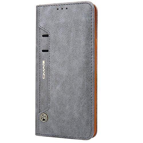 Funda cartera iPhone 6 Plus / 6S Plus con una solapa para llevar tarjeta de credito y dinero, Gris