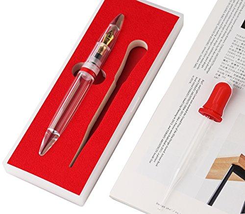 Moonman - Pluma estilográfica, relleno de cuentagotas de ojos, transparente acrílico Demonstrator, gran capacidad de tinta, punta fina, bolígrafo de bolsillo, set de regalo