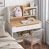 Escritorio de ordenador para espacio pequeño, mesa de escritura con 2 cajones y estante de almacenamiento, amplio escritorio resistente estante para dormitorio, sala de estar, 50 cm a 80 cm