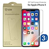 SZEE Screen Protector for Apple iPhone Xs/X [3-Pack], Ultra Thin Soft Flexible Film Cover,Easy Installation Anti Lifting Case Friendly PET membraneNot Tempered Glass 5.8' (HD Clear)