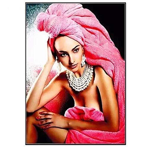 Kit de Pintura de Diamante 5D Completo,DIY 5D Diamond Painting Kit Mujer Hermosa de la toalla de baño Cristal Diamantes de Imitación Bordado Punto de Cruz Manualidades Hogar Decoración 30x60cm