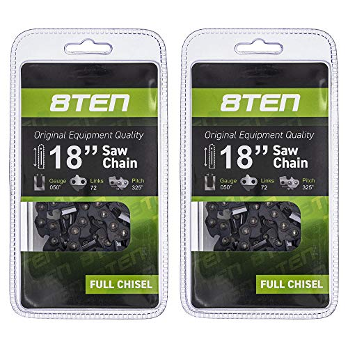 8TEN Chainsaw Chain for Husqvarna 345 351 350 340 455 Rancher Jonsered 18 inch Bar .050 Gauge .325 Pitch 72DL 2 Pack -  Mishon Inc, 810-CCC2226H
