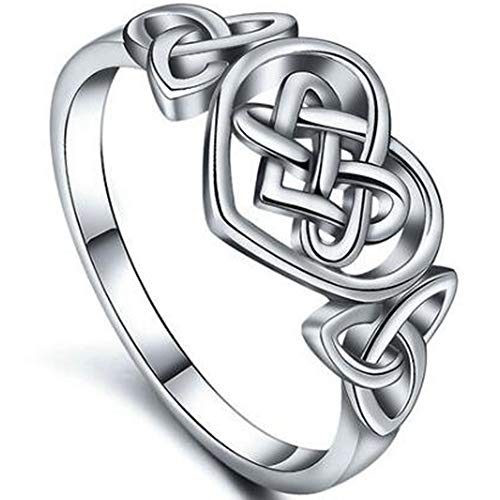 Size 4-12 Stainless Steel Heart Shaped Celtic Knot Promise Ring (7)