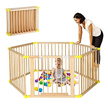 B BAIJIAWEI Wooden Foldable Baby Playpen 6 Panels Play Center Yard Home Indoor Outdoor Baby Fence Kids Safety Activity Center Safety Play Yard for Infants and Toddler  6 Panels