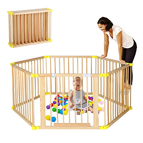 B BAIJIAWEI Wooden Foldable Baby Playpen 6 Panels Play Center Yard Home Indoor Outdoor Baby Fence Kids Safety Activity Center Safety Play Yard for Infants and Toddler (6 Panels)