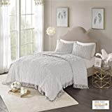 Madison Park Laetitia Shabby Chic Cozy All Season Bedspread Bed Set with Matching Shams, Full/Queen(90'x90'), Floral Grey 3 Piece
