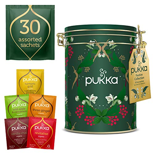 Pukka Herbs Christmas Tin, Herbal Tea Gift Set, Selection of Winter Warming Teas in a Beautiful Tin, 57 g - Pack of 1