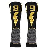 KitNSox Handball Athletic Socks, Kids Boys Girls Sport Soccer Football Mid Calf ID Socks Black 1 Pair