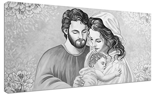 Punto Digital Quadro Capezzale Sacra Famiglia Home b/n cm.120x60 Moderno Intelaiato Stampa su Tela Cotone Telaio in Legno Spesso cm.2