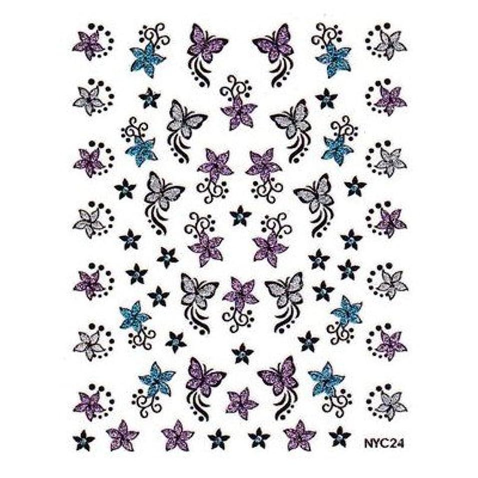 合法心配するケニア3Dネイルシールブルーピンク 蝶 花 キラキラ箔 NYC24