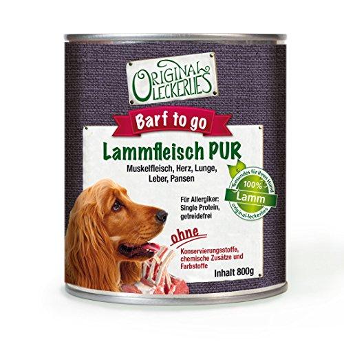 Original-Leckerlies: Lammfleisch PUR, 6 x 800g, 100% Muskelfleisch und Innereien, ohne Brühe oder künstliche Zusätze, Nassfutter, Hundefutter, Naturprodukt für Hunde, barfen