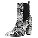 Si Diosa Mujer Moda Botines Chelsea Botas Bajas Tacon Ancho Slip on Botas Media Animal Print Dress Boots Party Zapatos Snake SeWenBai Size 35
