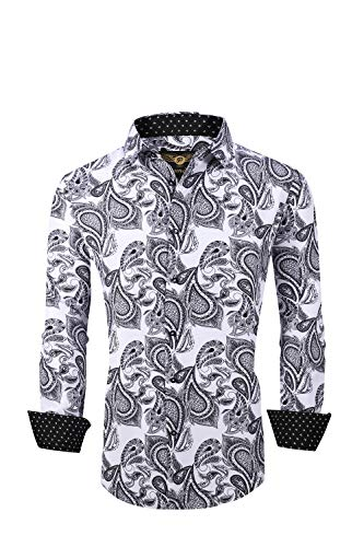 Premiere Men's Colorful Paisley Designer Fashion Dress Shirt Floral Casual Shirt Woven Long Sleeve Button Down Shirt (White Black Paisley 651, Large)