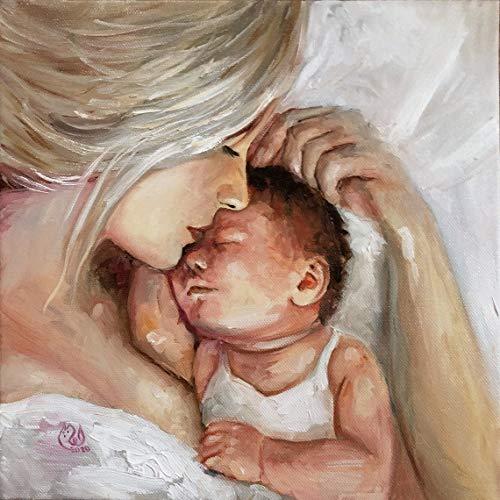 AQjept DIY Pintar por números Madre e Hijo Pintar por número, Pintura al óleo de Bricolaje para Adultos, niños, Principiantes