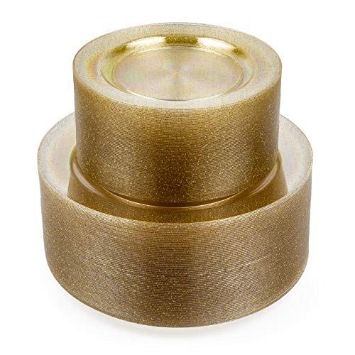 matana - 120 Stück Mehrweg Plastikteller mit Goldglitter - 2 Größen