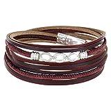 StarAppeal Armband Wickelarmband in Leder mit Schmuck, Strass und Magnetverschluss Silber, Damen Armband (Rot-Dunkelrot)
