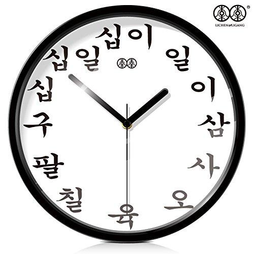reloj de pared,reloj de pared adhesivo.Arte reloj de pared reloj colgante coreano salón creativo reloj de cuarzo mute reloj personalidad reloj grande, 10 pulgadas, marco de metal negro