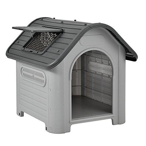 [en.casa] Hundehütte mit Dachluke 87x72x75,5cm PVC Grau Schwarz Unterschlupf Hundehaus Kunststoff