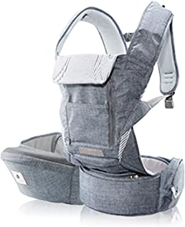 Pognae No 5 Plus Luxury All-In-One Baby Carrier Organic Infant Baby Hipseat Front Backpack Carrier (Denim Gray)