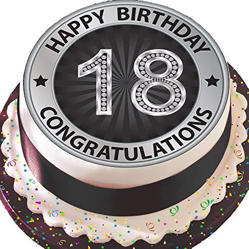 Vorgeschnittene essbare Kuchendekoration, 19cm, runder Tortenaufsatz, silber & schwarz zum 18. Geburtstag S018