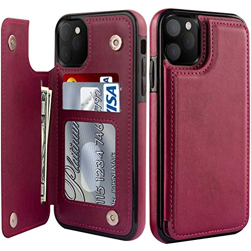 """LETO iPhone 12 Pro Max Case,Luxury Flip Folio Leather Wallet Case Cover with Card Slots and Kickstand for Girls Women,Protective Phone Case for iPhone 12 Pro Max 6.7"""" Wine Red"""