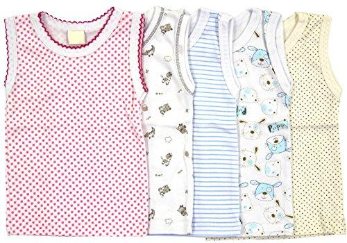 Set Unterhemd 5 tlg für Mädchen und Junge Bunt Größe 80 86 92 98 104 110 116 (Set für Junge, 80)