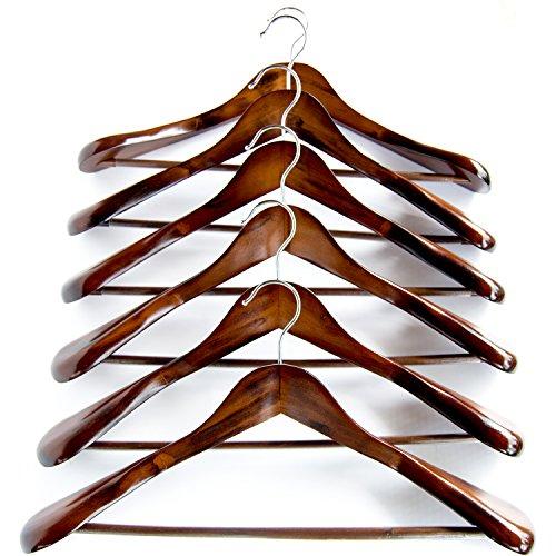 Clutter Mate - Set of 6 - Premium Finish Wooden Suit Hangers, Coat Hangers, Walnut Solid Wood Hangers with Wood-Grain, Wide Shoulder Heavy Clothes Hanger for Suits, Jacket, Non Slip Pants, Swivel Hook