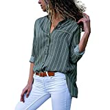iHENGH Damen Herbst Winter Bequem Lässig Mode Frauen Casual Langarm Stripe Button T Shirts Tops Bluse(XL,Grün)