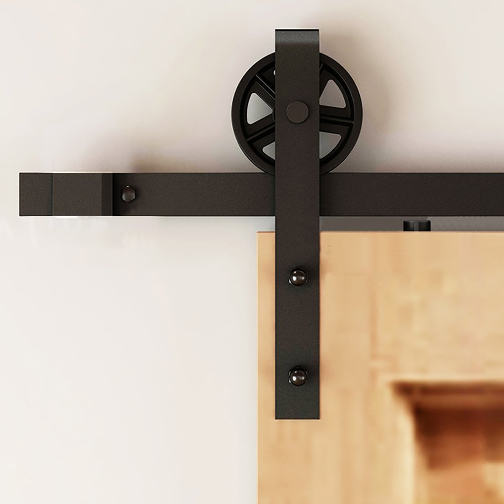 Kit de herramientas para puerta corredera de madera con colgante en forma de rueda de radios mecanismo para decoración estadounidense estilo rural: Amazon.es: Bricolaje y herramientas