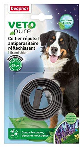 Beaphar - VETOpure, collier répulsif antiparasitaire réfléchissant - grand chien - noir
