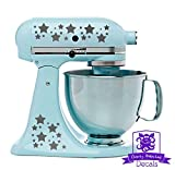Star Patterned Kitchen Stand Mixer Front/Back Decal Set - Silver Metallic