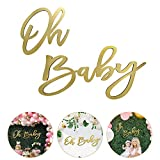 """Wooden """"Oh Baby"""" Sign with Gold Painted, Perfect Baby Shower Party Banner for Baby Shower Boy/Girl Decorations Gender Reveal Backdrop Party Photography Background"""