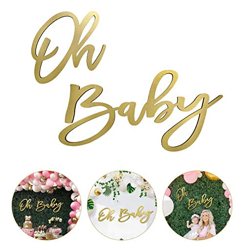 Wooden Baby Shower Sign with Gold Painted, Perfect Baby Shower Party Banner for Baby Shower Boy/Girl Decorations Gender Reveal Backdrop Party Photography Background