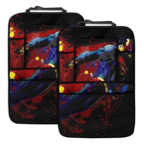 LMMZ Movies S-up-erman Car Back seat Organizer Multi Touch Screen Tablet Holder Storage Pockets Kid Snacks Water Bottle Toys Drinks Storage Seat Back Protectors (2 Pack)