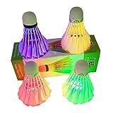 Ndier - Set di 4 volani a LED da badminton, per attività sportive, colore: rosso, verde, blu e multicolore