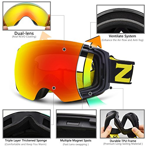 ZIONOR X4 Ski Snowboard Snow Goggles Magnet Dual Layers Lens Spherical Design Anti-Fog UV Protection Anti-Slip Strap for Men Women (VLT 16.87% Black Frame Revo Red Lens)