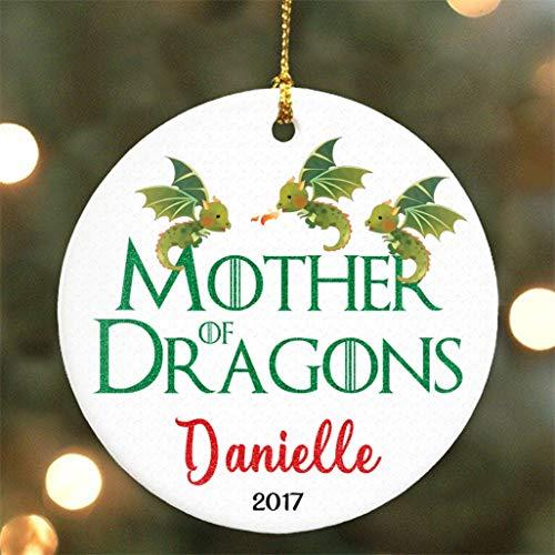 Dkisee Moeder van Draken - Game of Thrones Parodie - Ronde Keramiek Ornament - Gepersonaliseerd met Naam & Jaar 3 inch