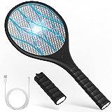 KOXXBAS Raqueta Matamoscas Eléctrica,USB Recargable Mata Mosquitos Electrico con Linterna...