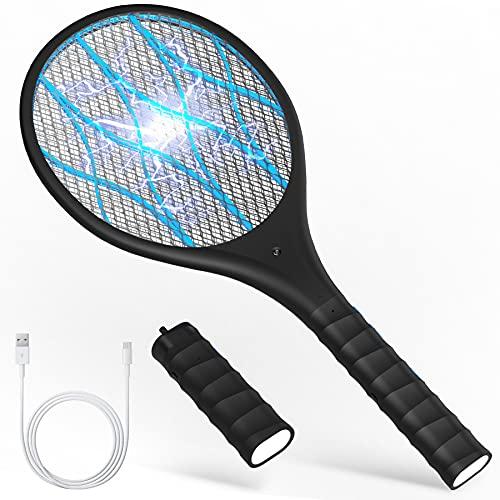 KOXXBAS Racchetta insetticida elettrica, ricaricabile tramite USB, uccide zanzare elettrico con torcia a LED, spaventapaschetti, elettrica multifunzione con 3 strati di protezione Kill